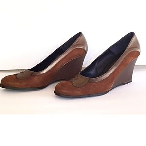 Donald J. Pliner suede leather wedge loafer